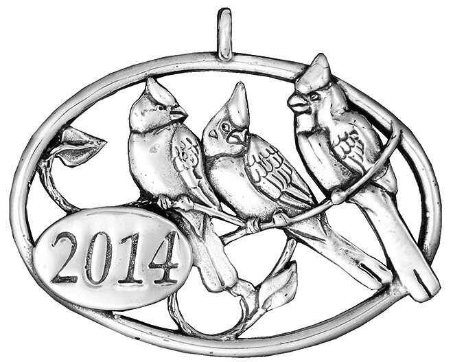 2014 Cardinal Family Sterling Christmas Ornament H