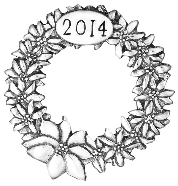 2014 Poinsettia Wreath Sterling Christmas Ornament