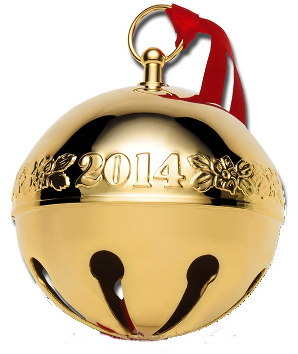 2014 Gold Plated Sleigh Bell Wallace Christmas Orn