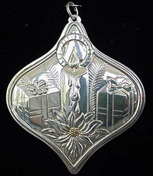 Christmas Poinsettia Gold Accents Sterling Ornamen
