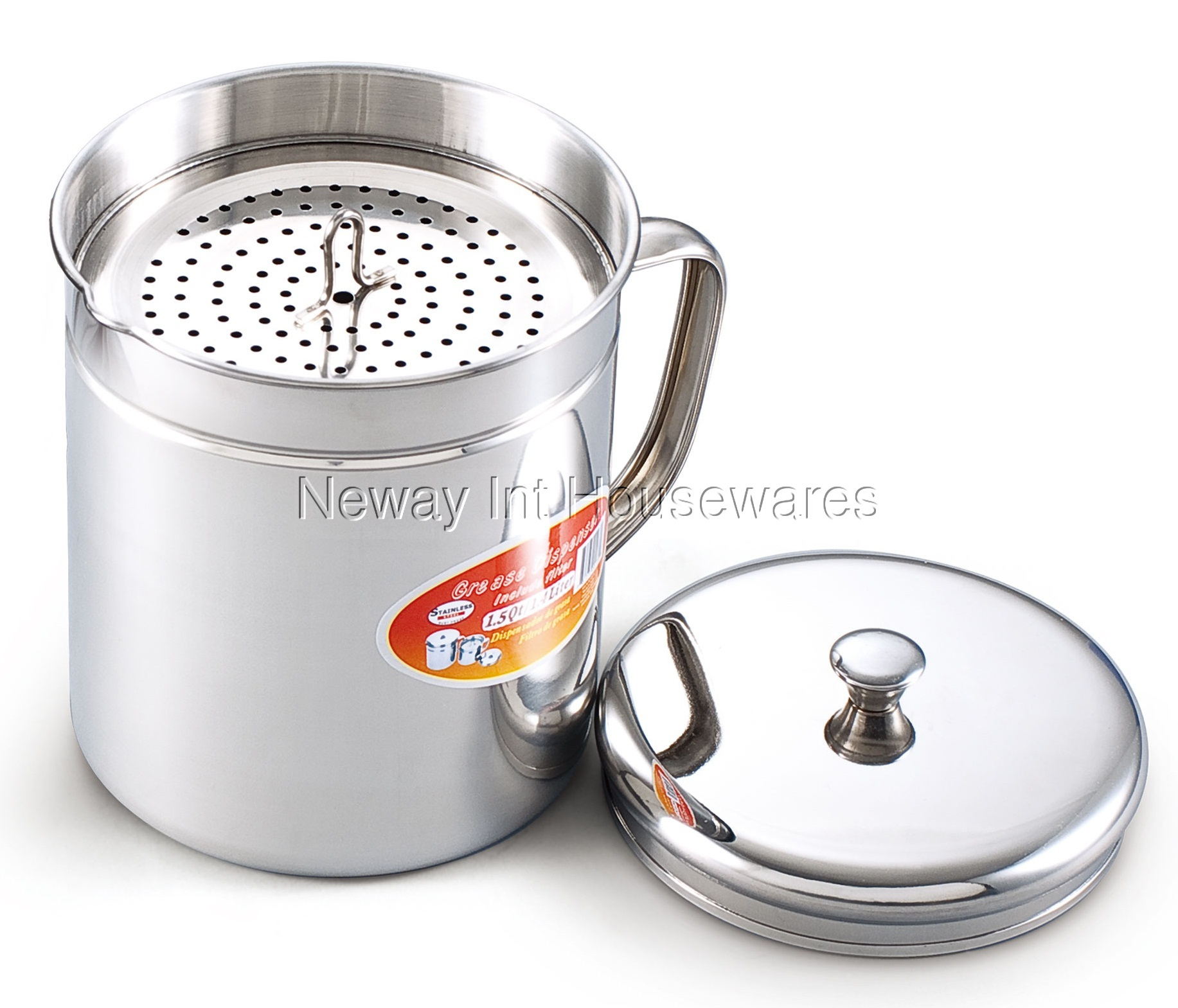 Cook N Home 1 5 Quart Stainless Steel Oil Storage Can