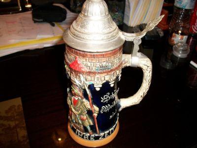 Bosseburt Vintage West German Beer Stein Pewter Lid Hand Painted