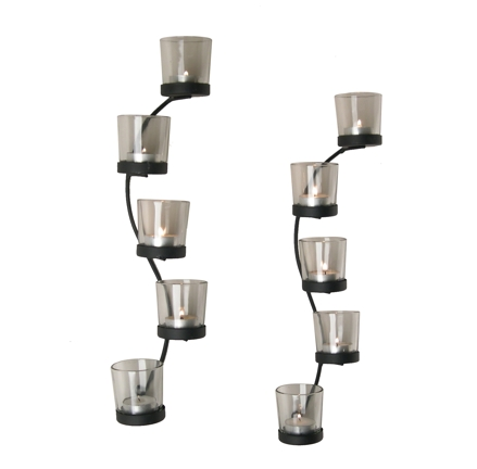 Curved Iron Wall Sconce Votive Candle Holder Set QBA522