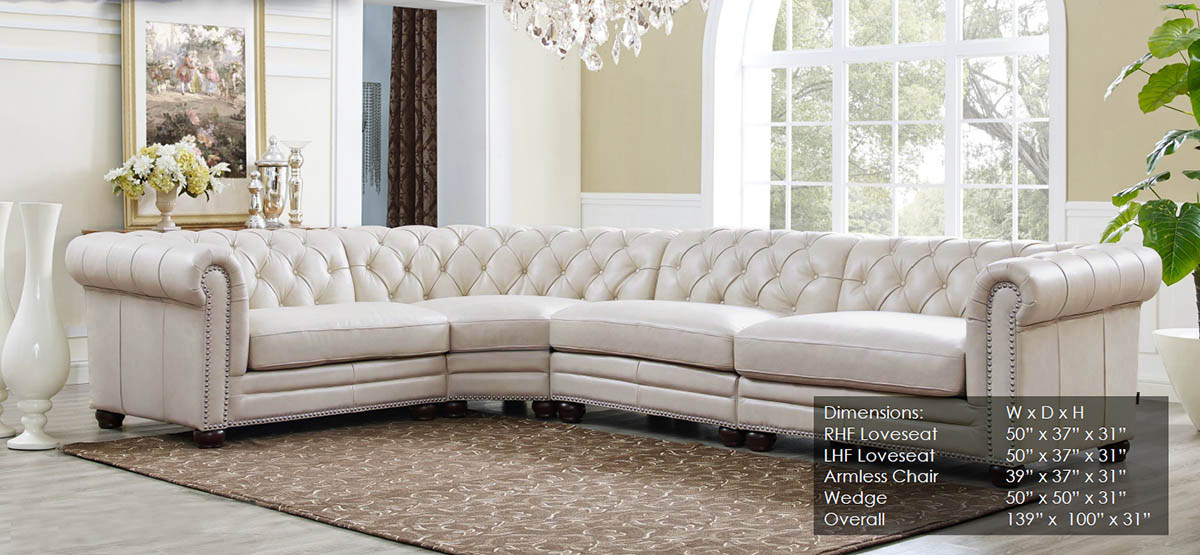 Pleasing Details About New Chesterfield 4 Part Sectional Sofa Top Grain Creamy Ivory Leather Rh Style Creativecarmelina Interior Chair Design Creativecarmelinacom