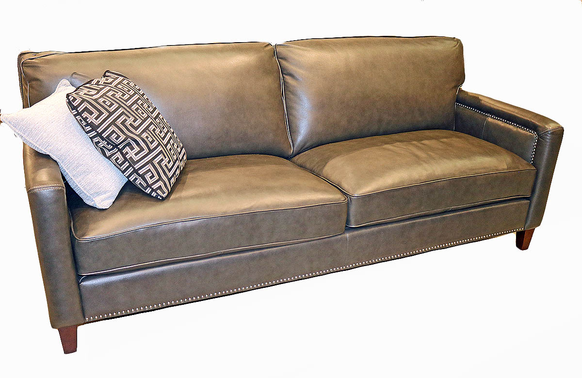 Details About Art Deco Style Sofa Couch Pewter Gray Top Grain Leather Restoration New
