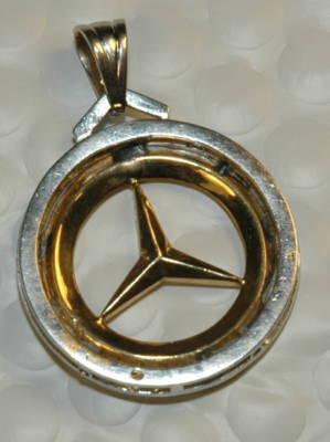 Whistlinpoint 14k Gold Diamond Mercedes Benz Medallion