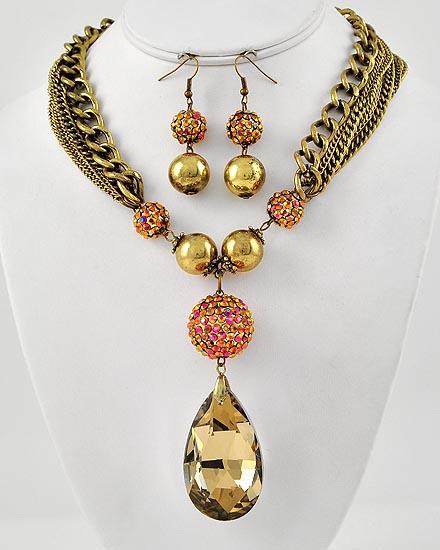 Burnished Goldtone Multistrand Necklace Set