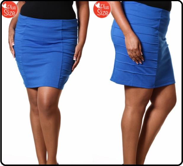 Blue Plus Size Pintuck Skirt