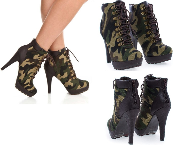 Camouflage Green Lace Up Lug Sole Platform Stilett