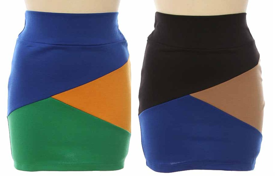 Colorblock Bandage Knit Skirt