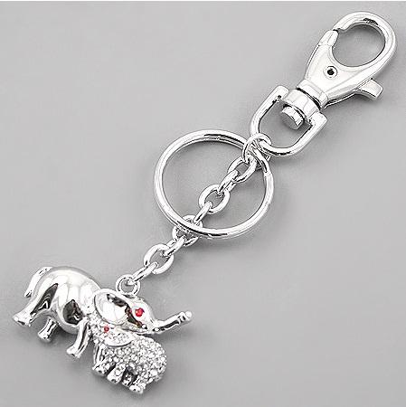 Silver Metal Elephant Charm Keychain