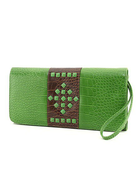 CROCO STUDDED ACCENT CLUTCH