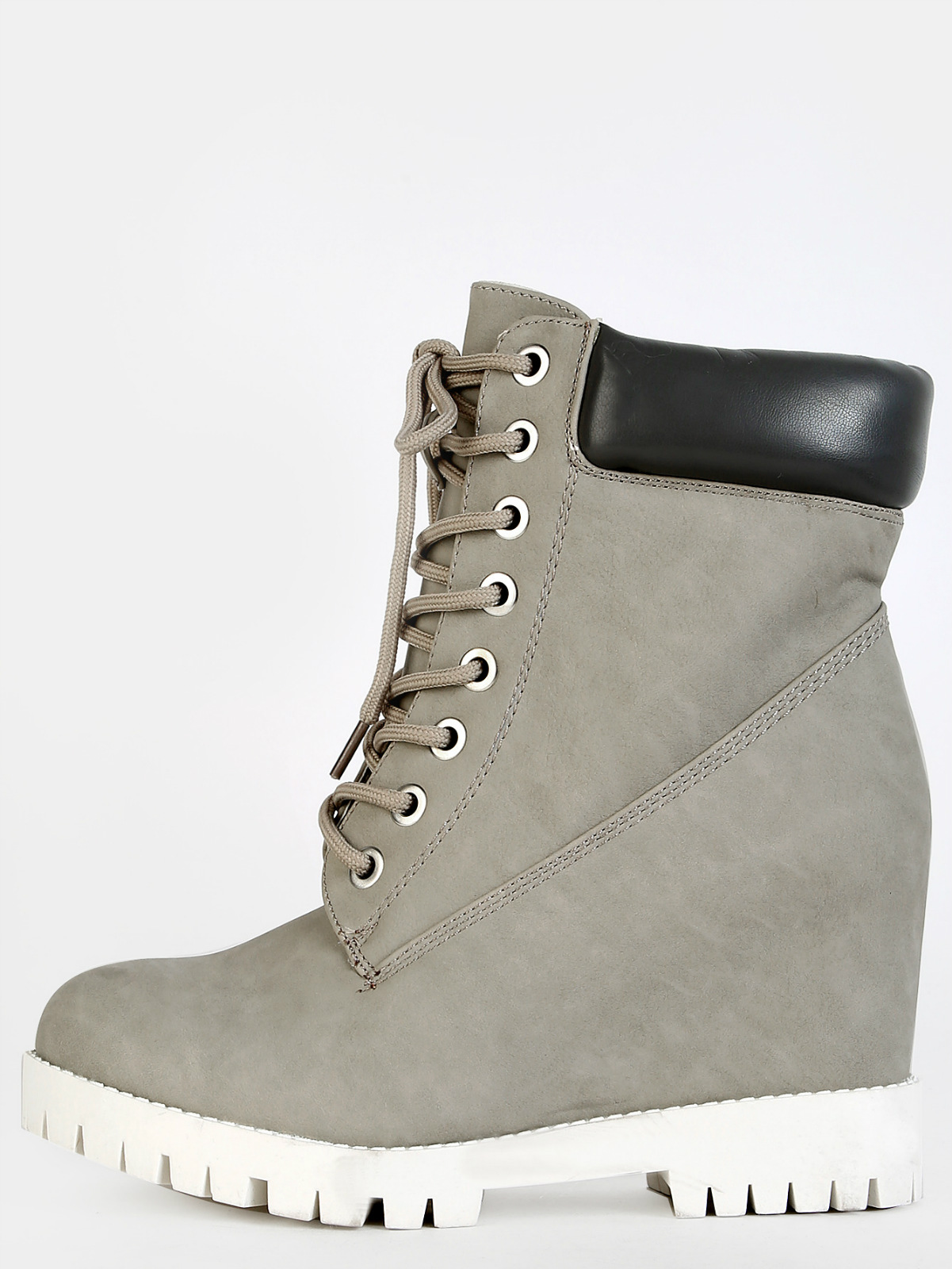 GREY Faux Suede Outdoor Chunky Laceup Ankle Wedge