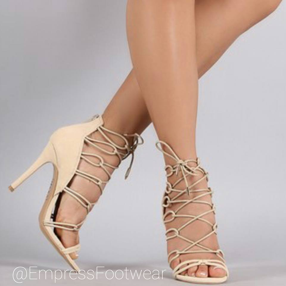 Nude Elasticized Loops Lace Up Open Toe Stiletto H