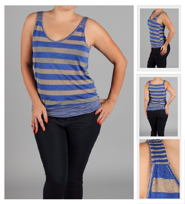 Royal Blue Stripe Knit Top