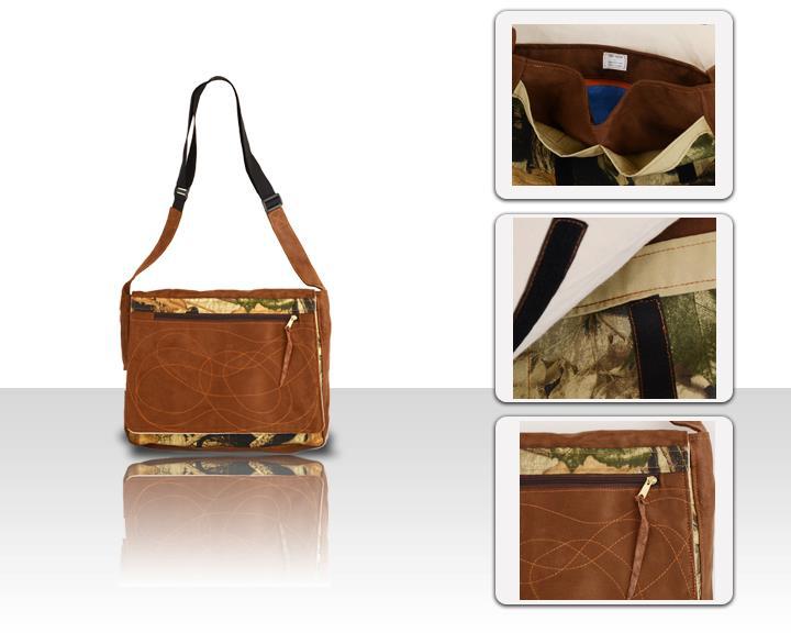 Handmade Suede/Camouflage Messenger Bag