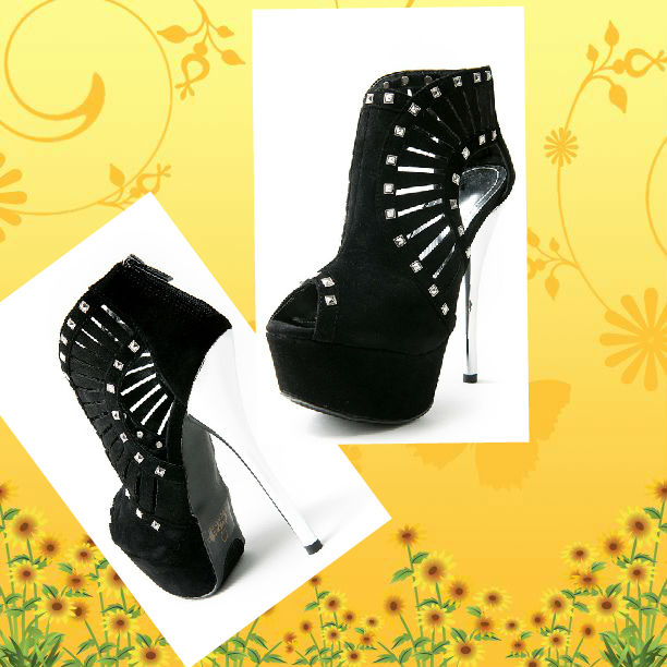 Black/Silver Cut-Out Studded Peep Toe Bootie
