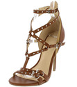 BROWN STUDDED CAGED RIVET STRAPPY OPEN TOE STILETT