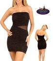 Black Crumpled Strapless Mini Dress