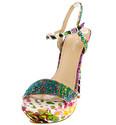 Floral Rhinestone Mixed Print Ankle Strap Platform