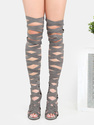 GREY Stiletto Bandage Strappy Zipper Open Toe Thig