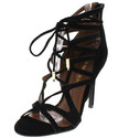BLACK Open Toe Caged Lace Up Leg Wrap Stiletto Hee