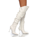 "4"" Sexy White High Heel Stiletto Thigh High Boots"