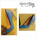 Blue Snake Skin Textured Single Sole Pump Heels Fa