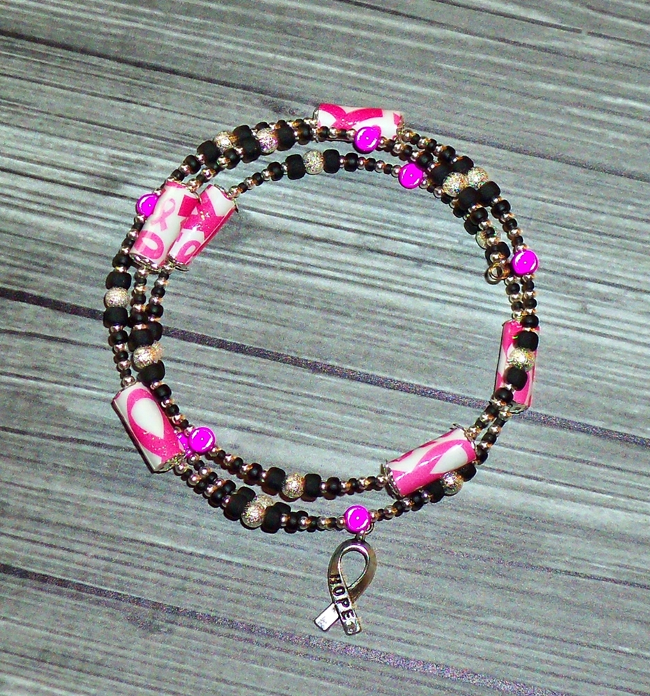 Pink Ribbon Breast Cancer Paper Bead Memory Wire Wrap Bracelet w ...