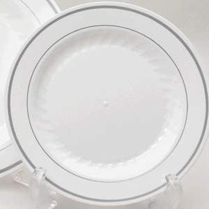 Good Quality Paper Goods 10 Quot China Look Silver Rimmed