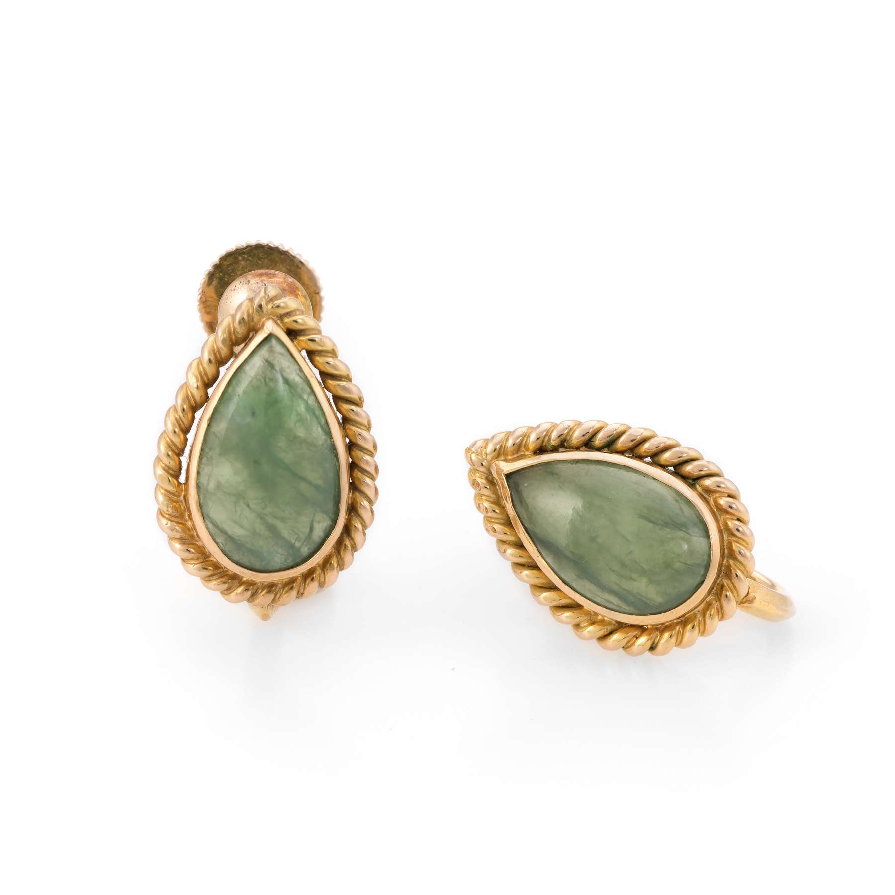 0b9be5cf2 Details about Pear Cut Jade Earrings Vintage 14k Yellow Gold Estate Fine  Jewelry Screw Back