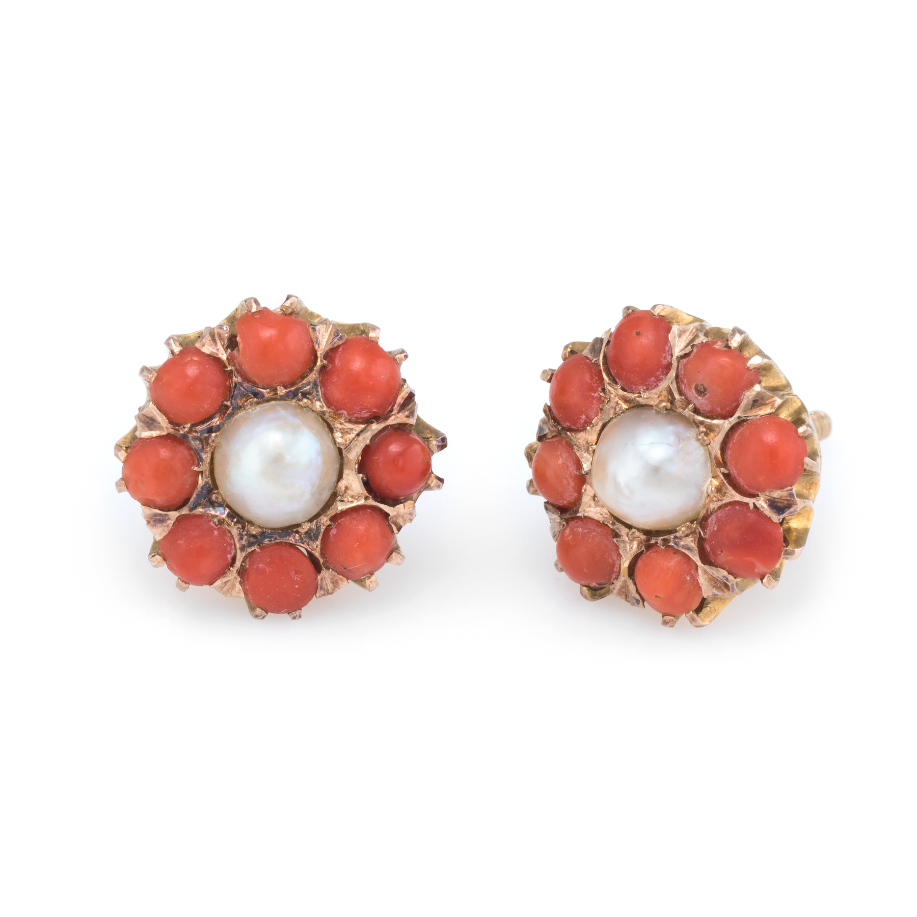 68efdd345 Details about Coral Pearl Round Stud Earrings Vintage 14k Yellow Gold  Estate Fine Jewelry