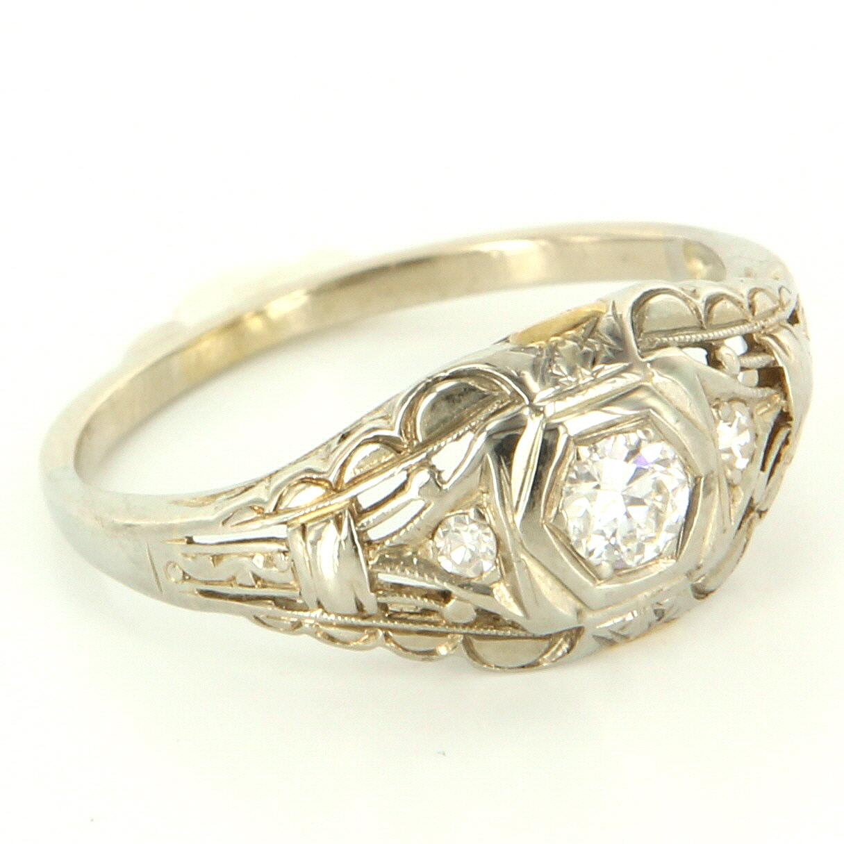Antique art deco 14 karat white gold diamond filigree ring for 14 karats fine jewelry