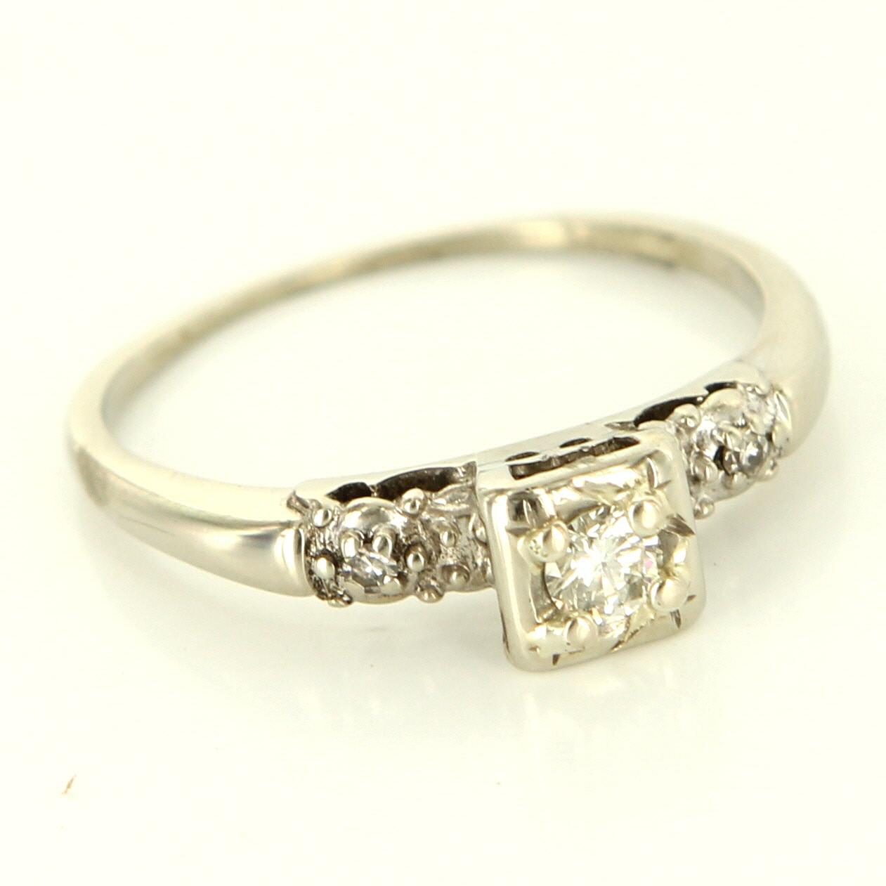 vintage 14 karat white gold engagement ring