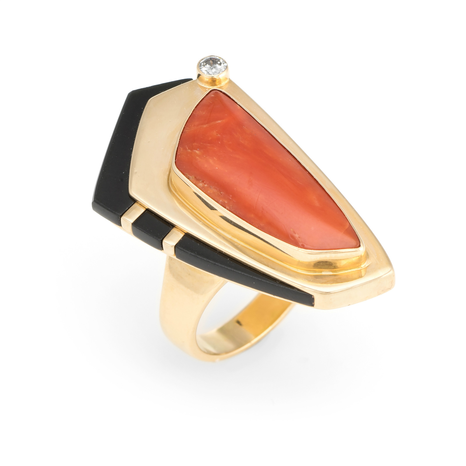 4e1251397 Details about Vintage Abstract Ring Coral Diamond Onyx 14k Yellow Gold  Cocktail Jewelry Estate