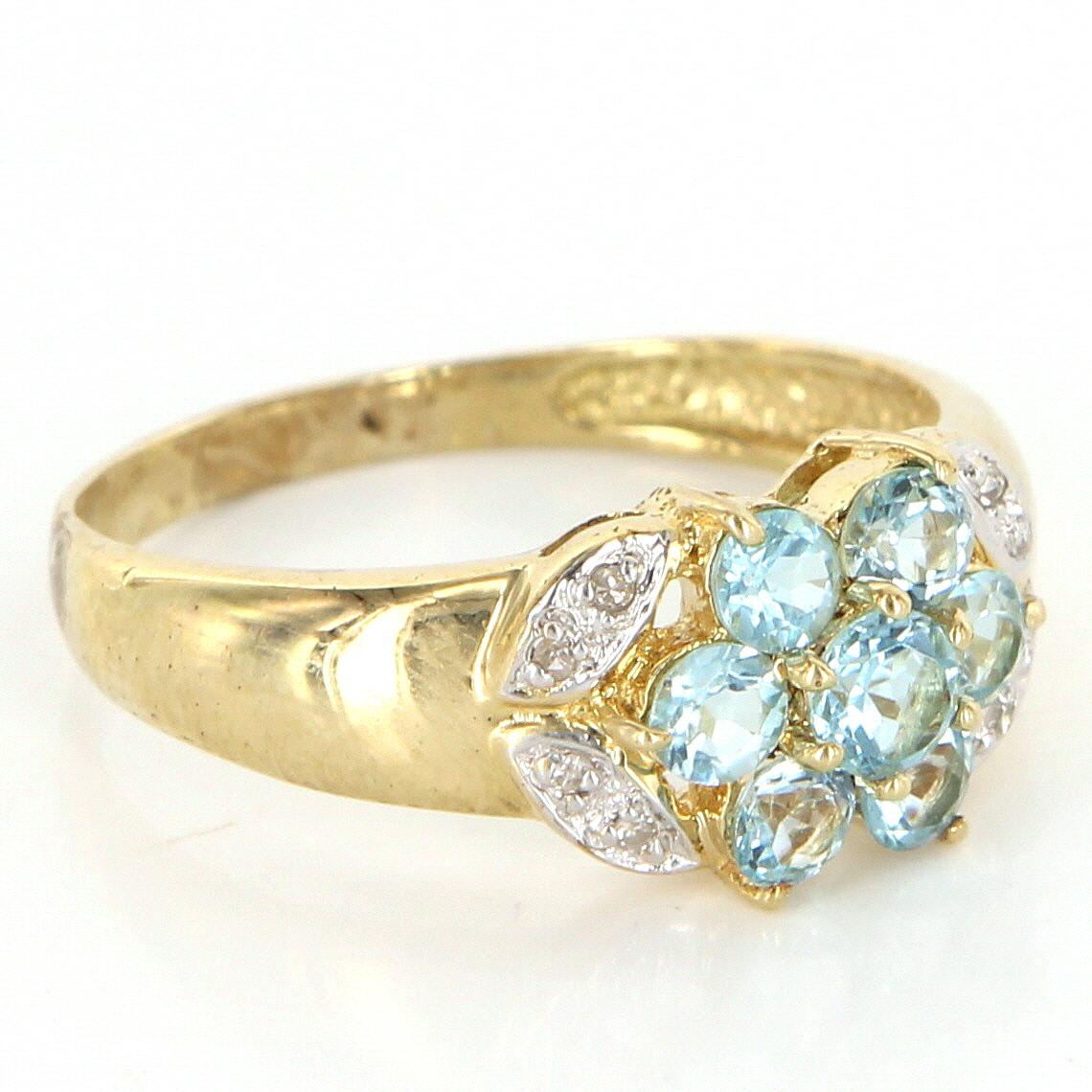 Estate 14 karat yellow gold diamond blue topaz cluster for 14 karats fine jewelry