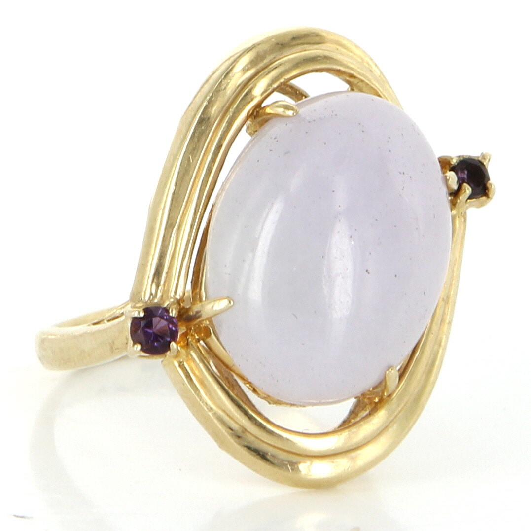 Vintage 14 karat yellow gold lavender jade amethyst for 14 karats fine jewelry