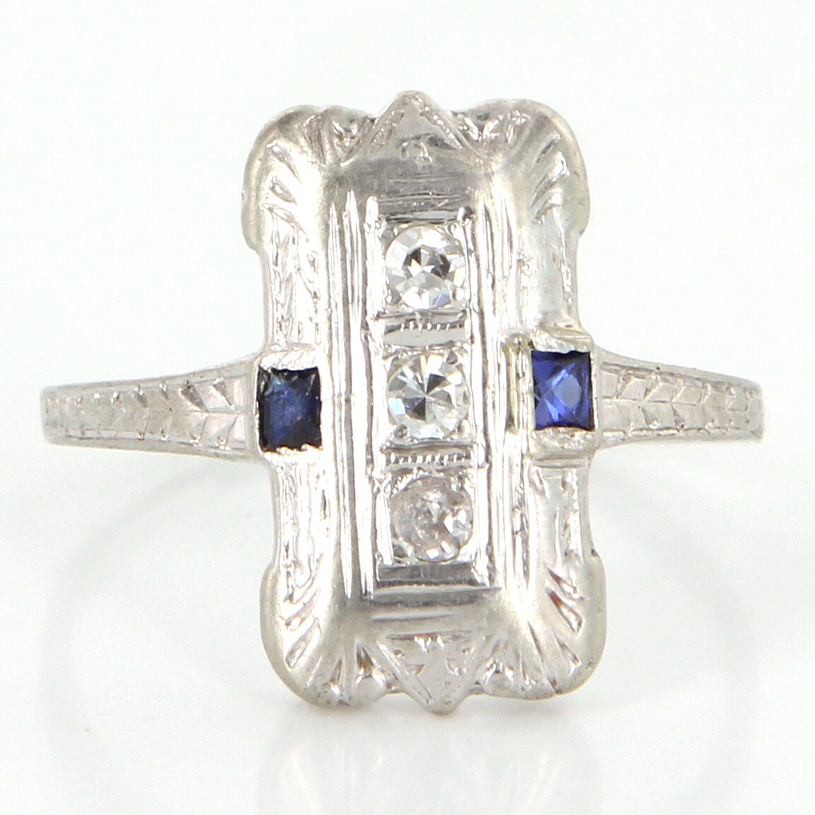 antique deco 18k gold sapphire cocktail ring vintage estate jewelry ebay