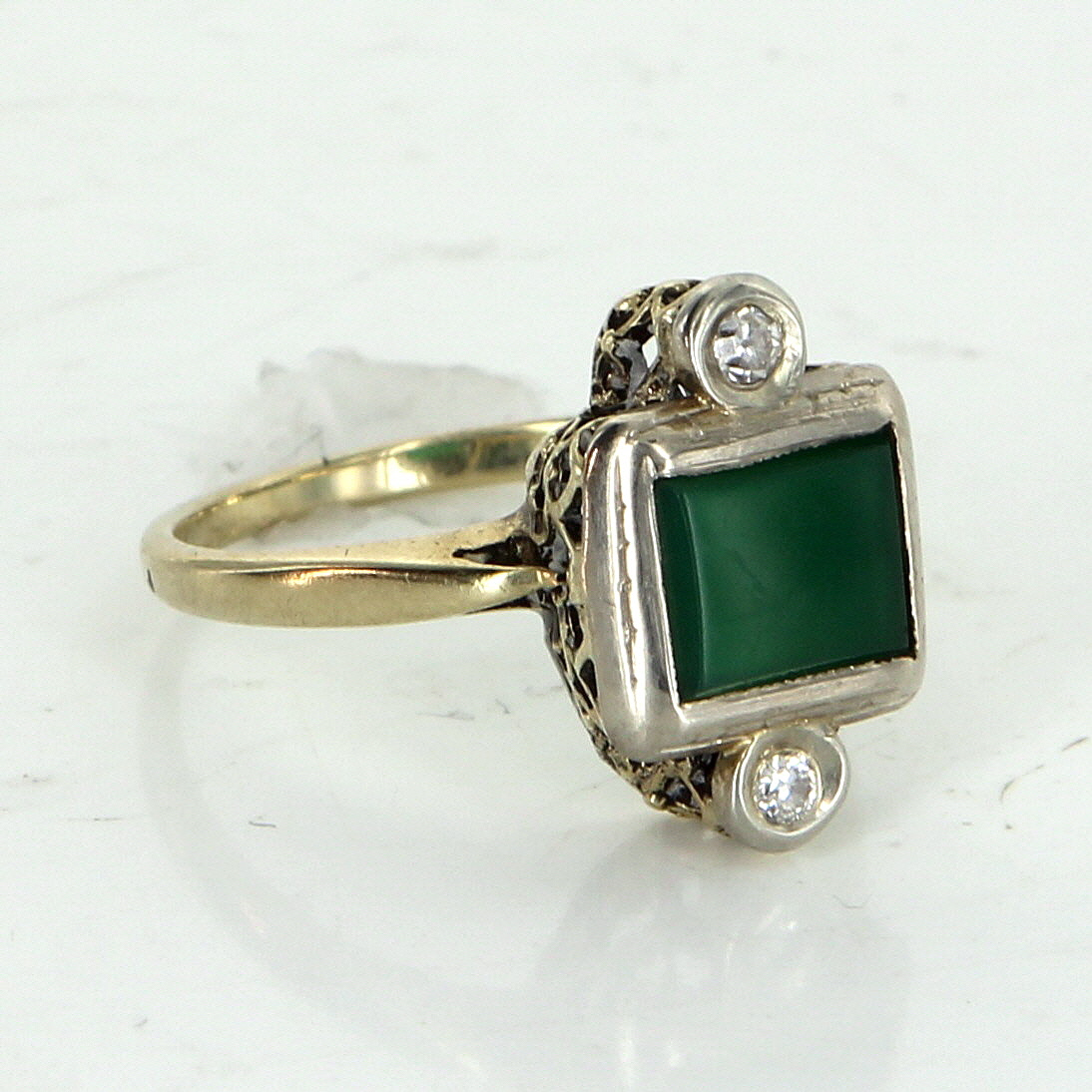 antique deco chrysoprase diamond cocktail ring vintage 14k