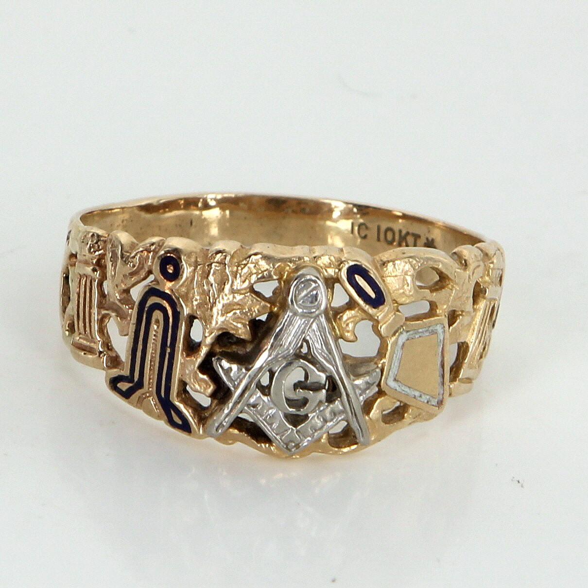 masonic blue lodge ring mens vintage 10k yellow gold
