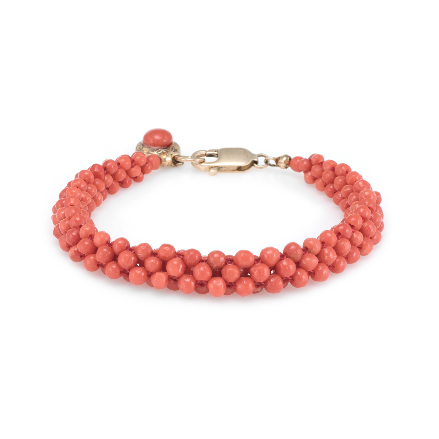 276776c8f Details about Mediterranean Red Coral Bead Bracelet Vintage 14k Yellow Gold  Estate Jewelry