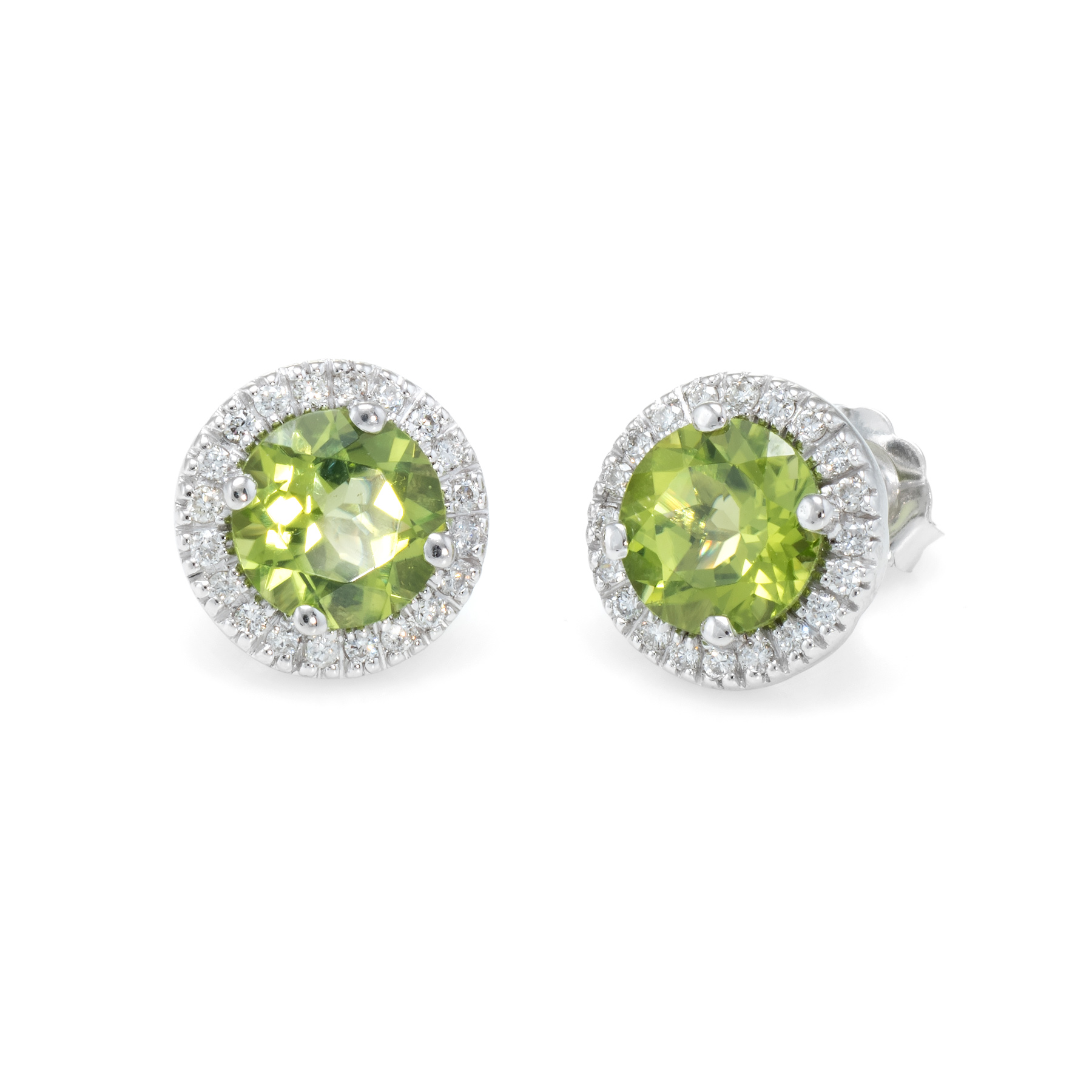 a7e026ad25e11a Details about Peridot Diamond Round Halo Stud Earrings Estate 14k White Gold  Vintage Jewelry