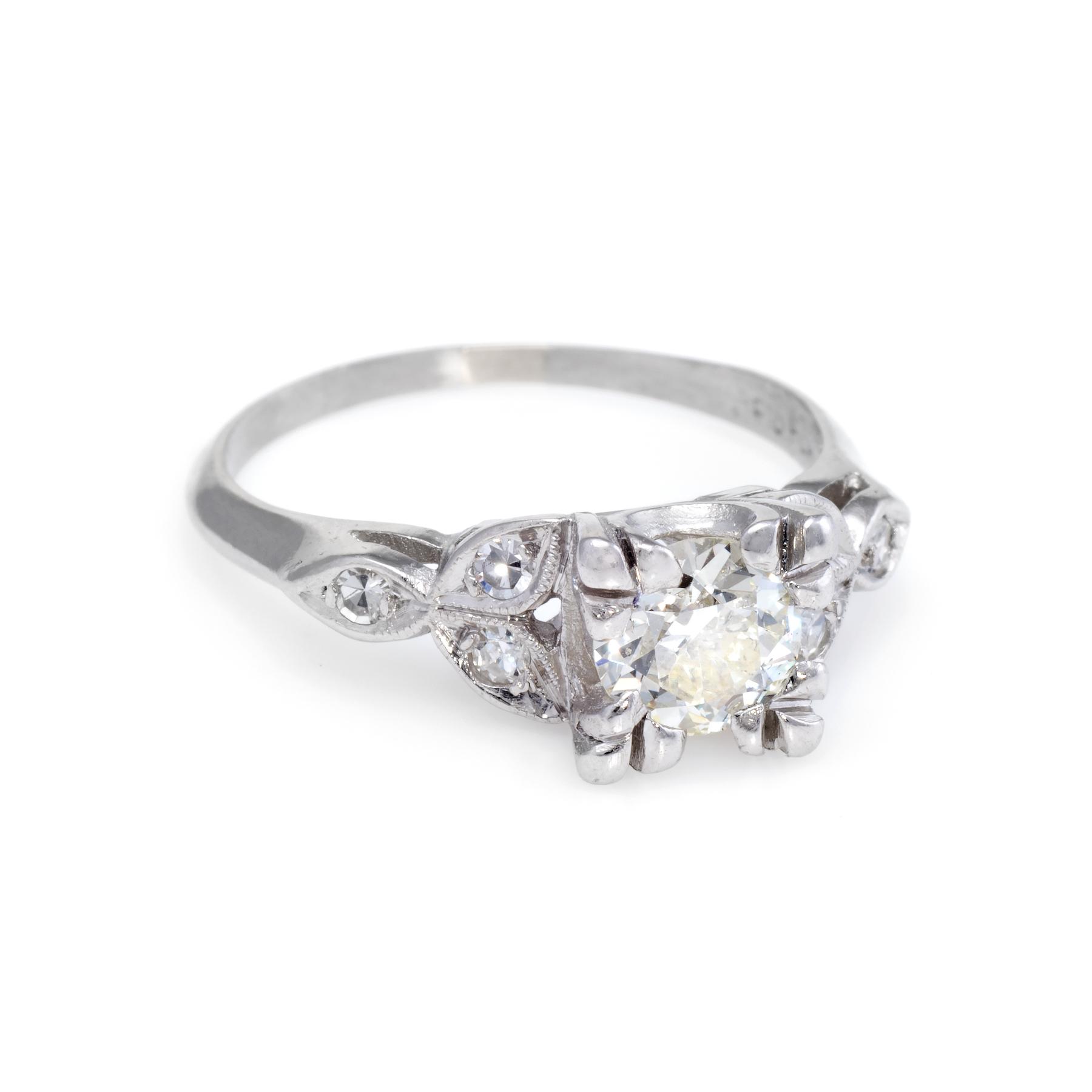 09d67fbd603a3 Details about Antique Deco Diamond Platinum Engagement Ring Vintage Estate  Bridal Jewelry