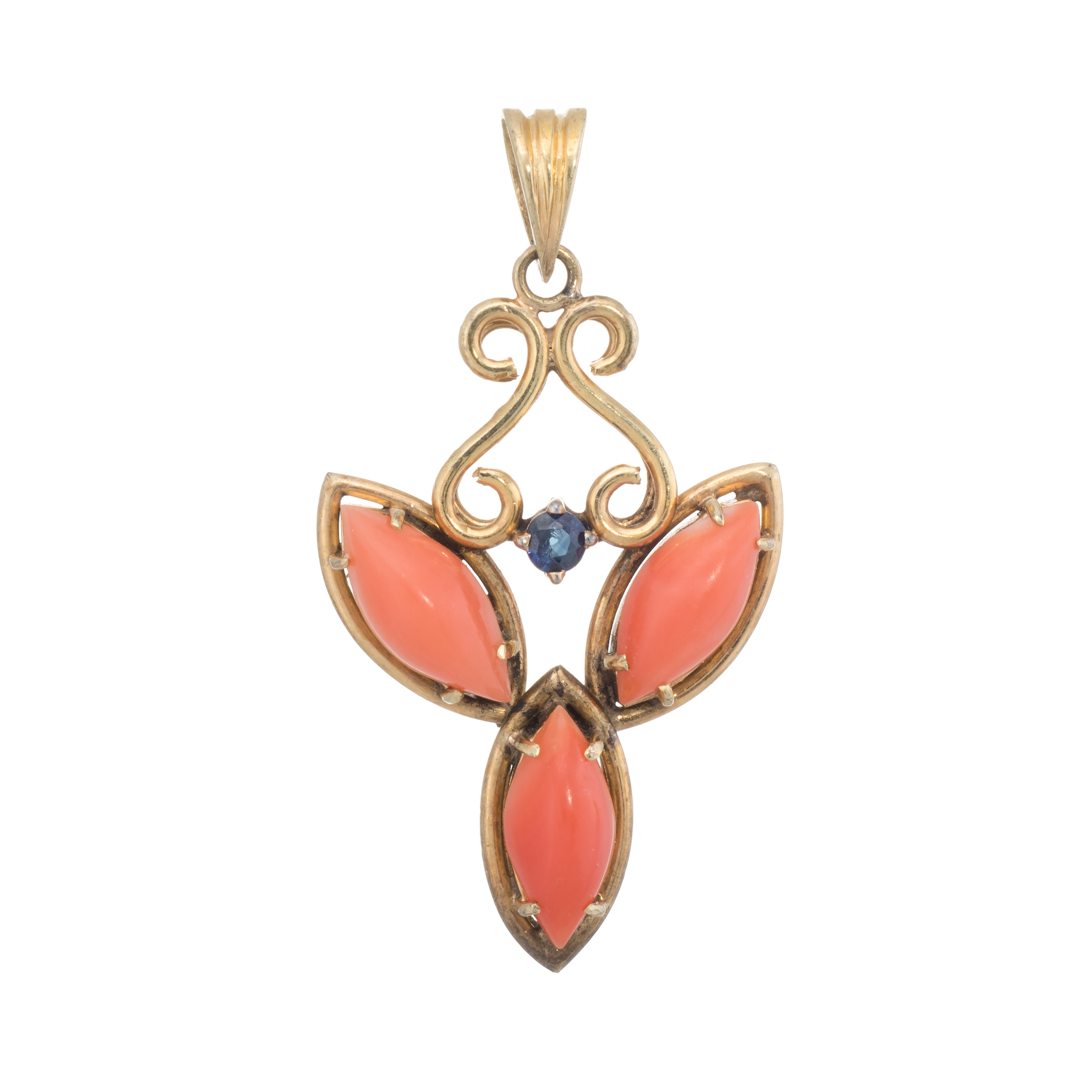 da9fc0b34 Details about Coral Sapphire Pendant Vintage 14k Yellow Gold Estate Fine  Jewelry Heirloom