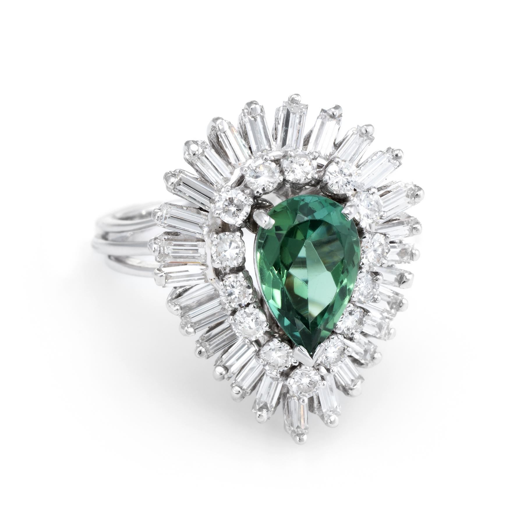 046166db5 Details about Green Tourmaline Diamond Ballerina Cocktail Ring Vintage 14k  White Gold Estate
