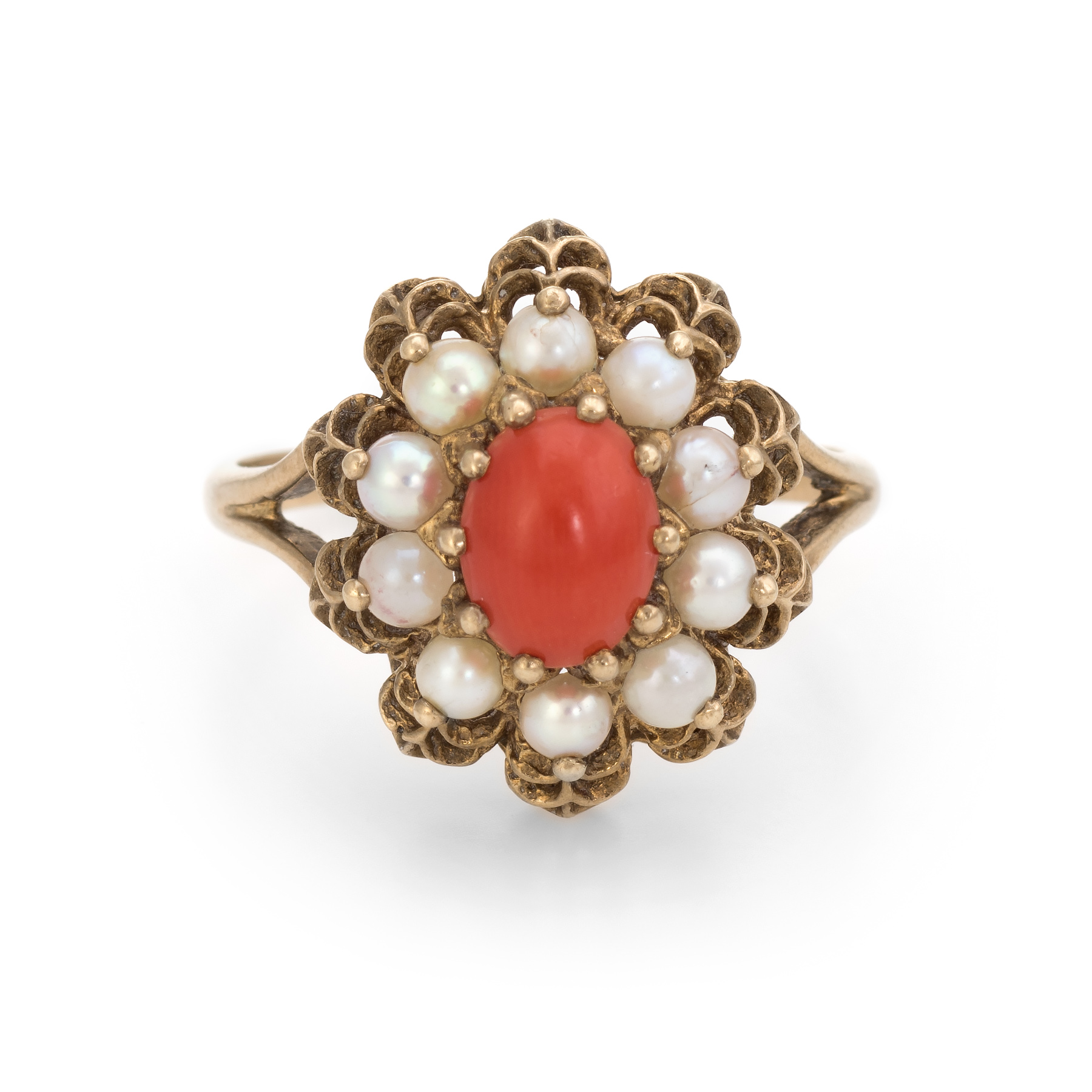 b8c30b1ba Details about Red Coral Cultured Pearl Cocktail Ring Vintage 9k Gold  English Hallmark Jewelry