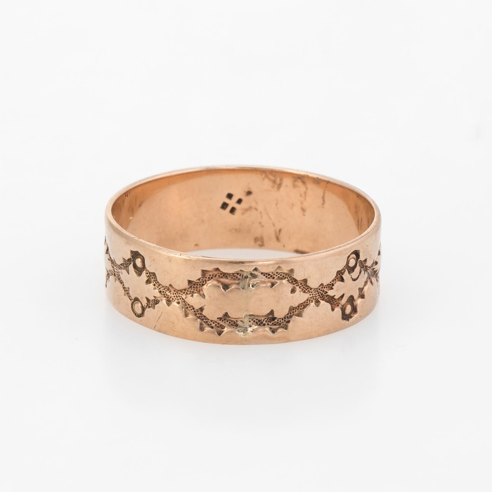 Details About Antique Wedding Ring Victorian 10k Rose Gold Embossed Leaf Pattern Vintage 925: Gold And Silver Embossed Wedding Bands At Reisefeber.org