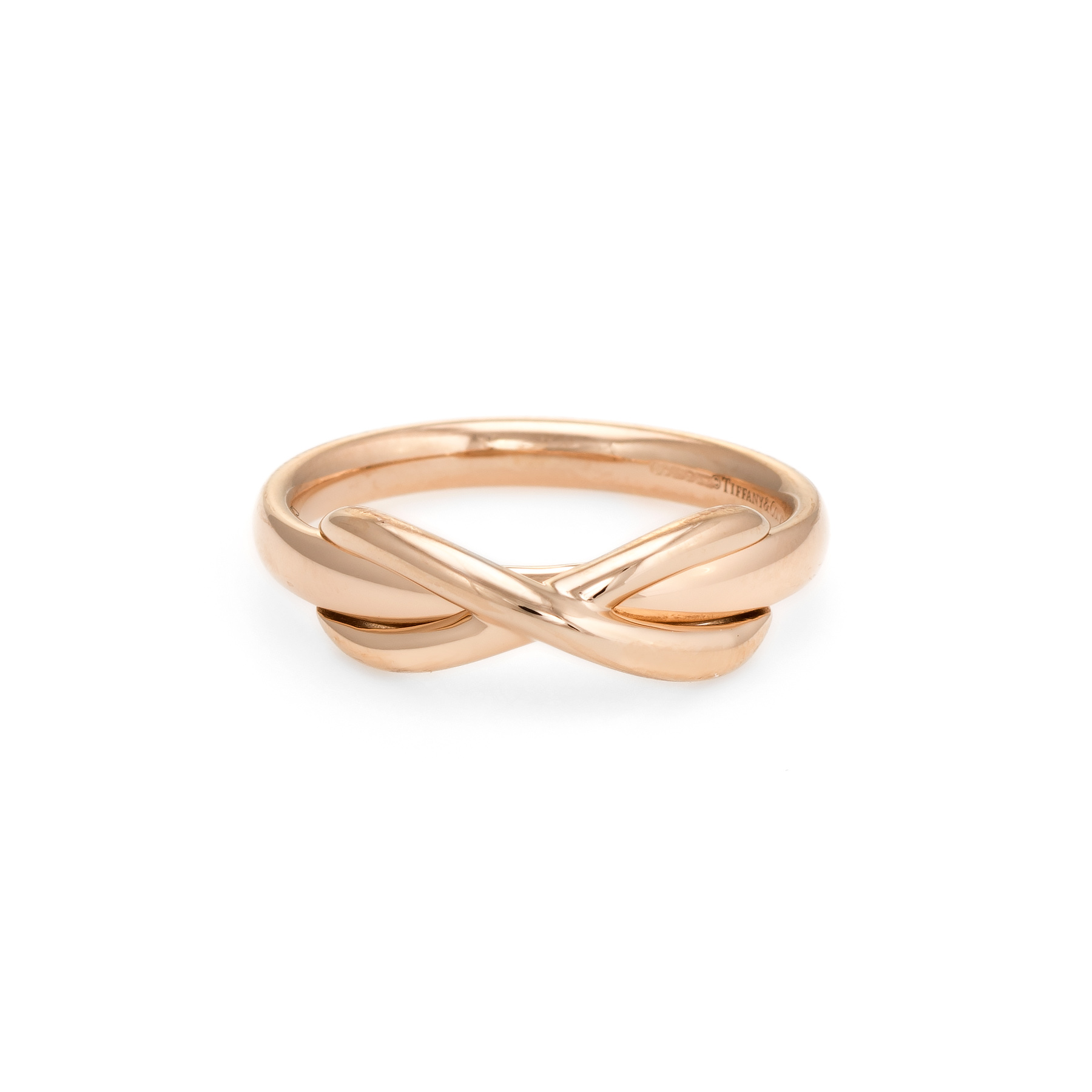 9abb351beba91 Details about Estate Tiffany & Co Infinity Ring 18k Rose Gold Sz 6 Designer  Jewelry