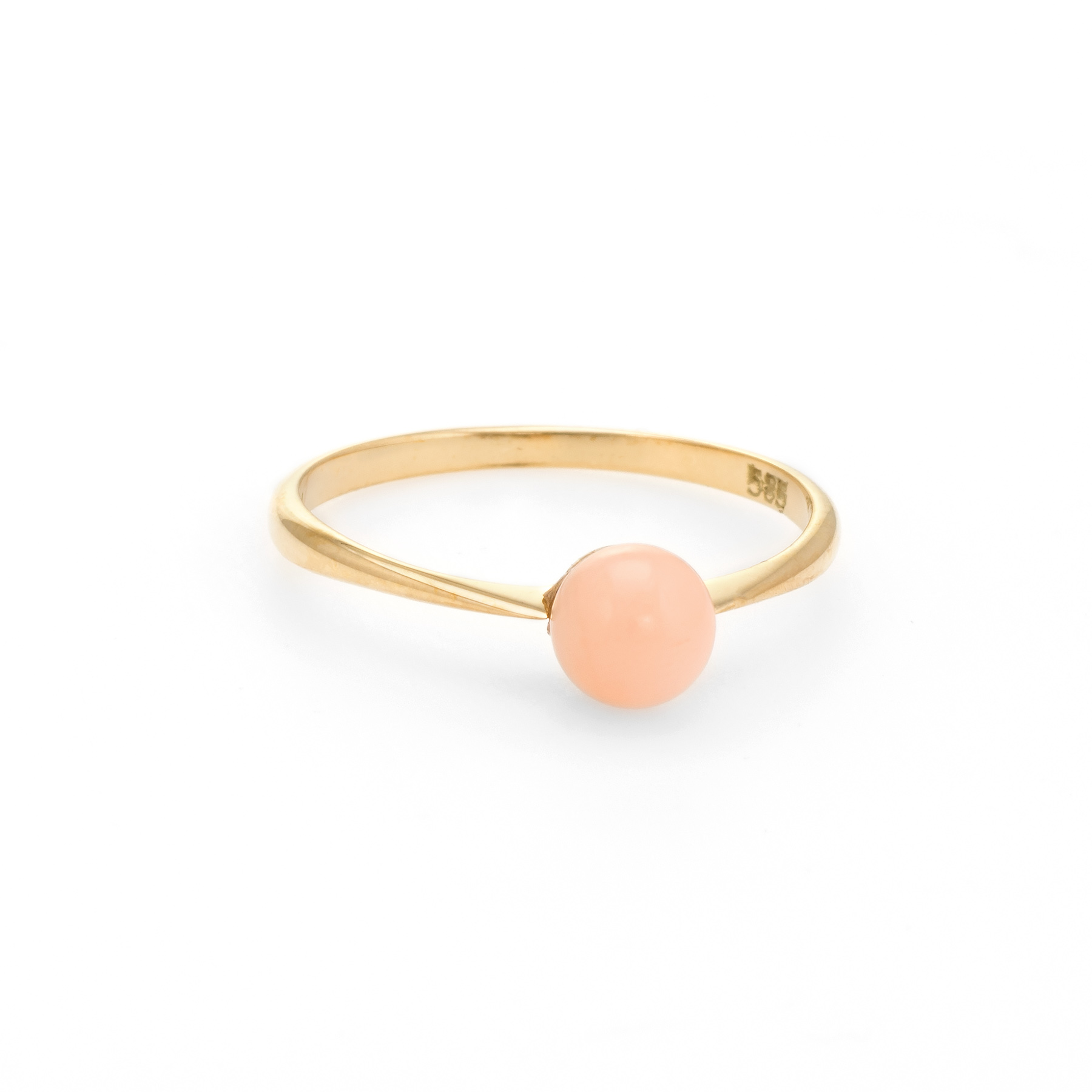 ddbf56765 Details about Vintage Angel Skin Coral Orb Ring 14k Yellow Gold Stacking  Estate Jewelry Sz 5.5