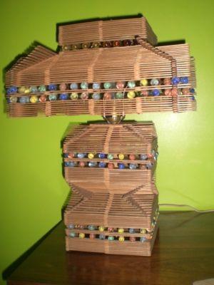 Valarry Folk Tramp Art Popsicle Sticks Marbles Lamp